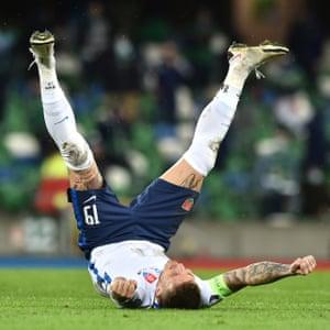 Juraj Kucka of Slovakia celebrates their victory.