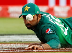 Pakistan's Asif Ali drops the ball.