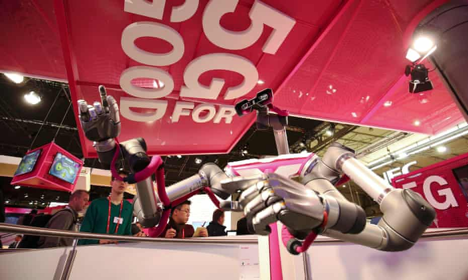 A robot that utilises 5G technology on Deutsche Telekom's stand at this month's Mobile World Congress.