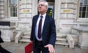 David Davis leaving the Cabinet Office in Whitehall.