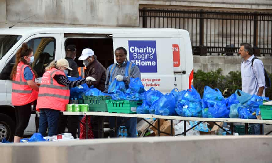 A mobile food bank in Trafalgar Square, central London, 10 April 2020