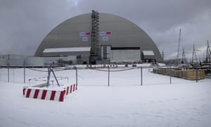 A view of the new shelter installed over the the exploded reactor at the Chernobyl nuclear plan.