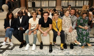Sharing a front row with the Beckham family at Victoria Beckham's SS20 London fashion week show.