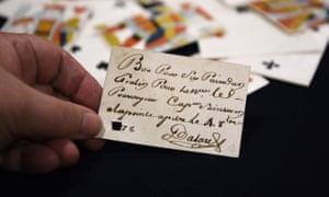 Playing card with a message, found aboard one of the enemy ships seized by the British navy and privateers between the 17th and 19th centuries