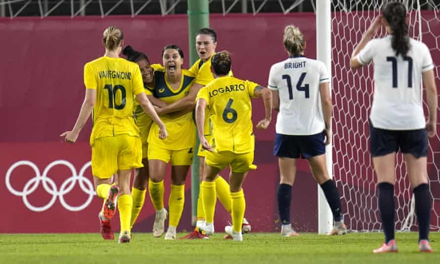 Australia's Sam Kerr celebrates after scoring the fourth goal against Team GB in extra time