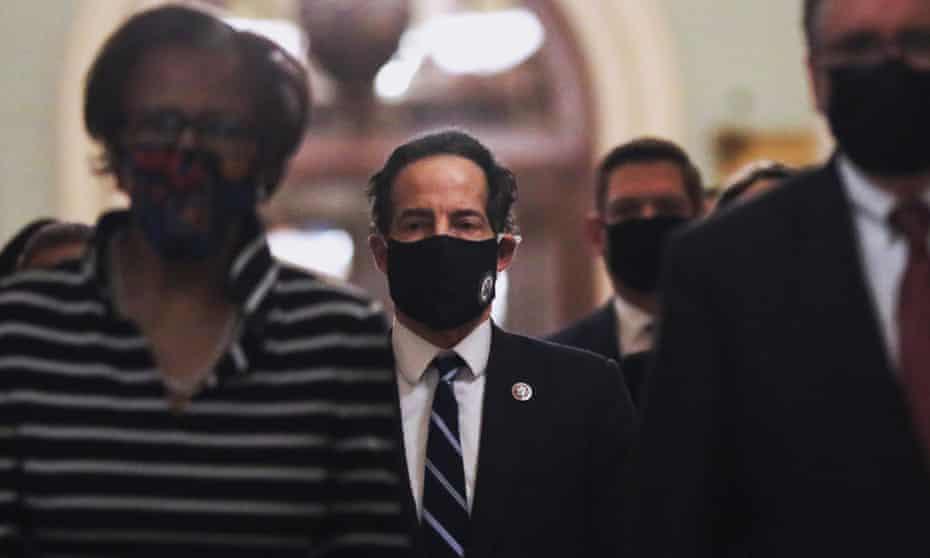 Jamie Raskin and fellow House impeachment managers walk to the Senate.
