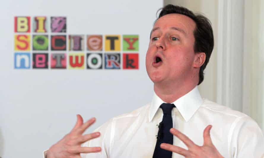 The former prime minister David Cameron speaking at a 'big society' event in 2011