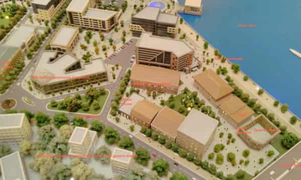A rendering shows part of the Belgrade Waterfront scheme