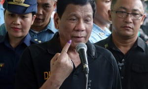 President Rodrigo Duterte votes in Philippines mid-term elections in Davao city.
