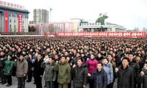 This picture taken on 5 January 2017 and released by North Korea's official Korean Central News Agency shows a rally in Pyongyang of supporters for leader Kim Jong-Un, who in his New Year's message announced plans to test-fire a ballistic missile capable of reaching the US mainland.