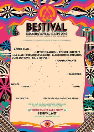 Bestival Festival poster showing female acts