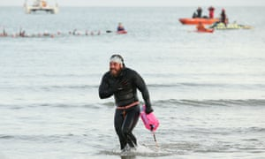Edgley ends his historic swim on 4 November in Margate, Kent.