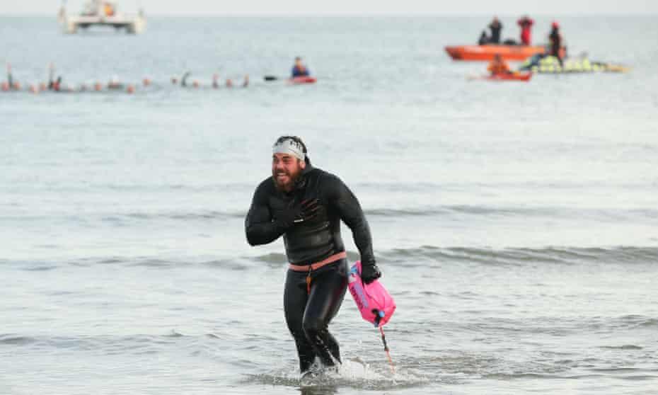 Edgley ends his historic swim on 4 November in Margate, Kent.