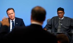 David Cameron and President Muhammadu Buhari at the anti-corruption summit in London.