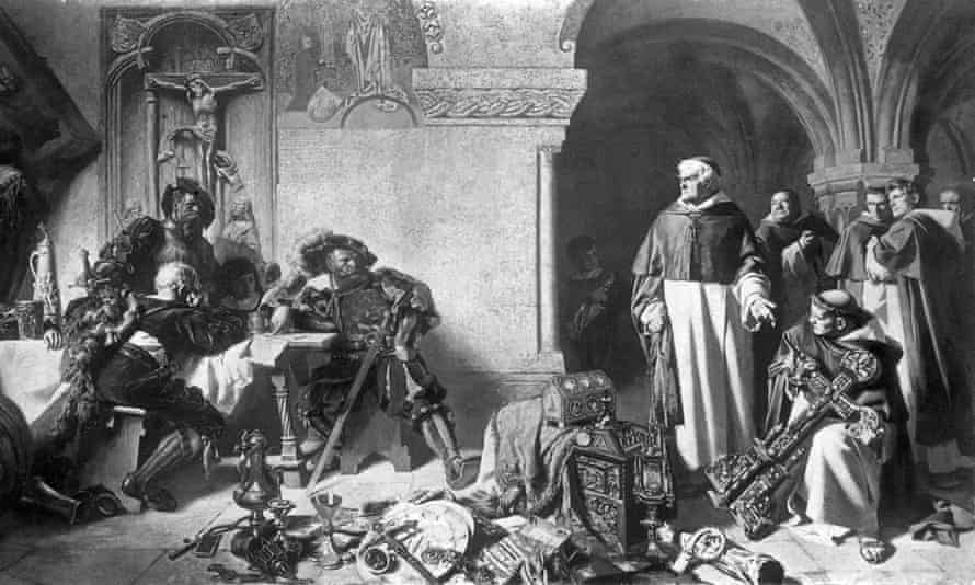 King Henry VIII's men seizing property from a monastery during the Reformation.