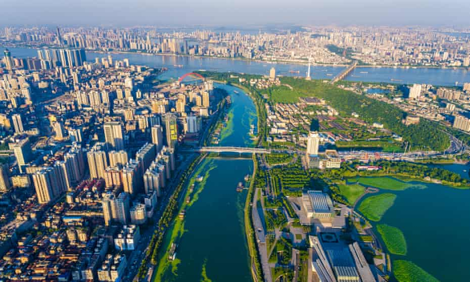 Aerial view of flood-prone Wuhan, located where the Yangtze and Han rivers merge.