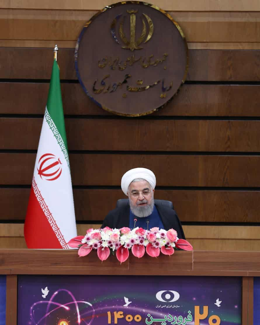 Iranian president Hassan Rouhani at the opening ceremony of various nuclear projects on Saturday.