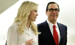 Steven Mnuchin with his wife, the British actor Louise Linton, in Washington. The pair have previously caused controversy with a government trip to Kentucky during the solar eclipse.