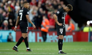 Neymar (right) and Kylian Mbappé show their dismay after Roberto Firmino's late strike for Liverpool sank PSG at Anfield.