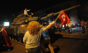 Tanks on the streets in Ankara.