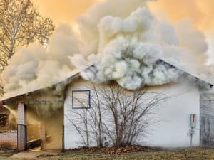 01.2018 USA. Texas. Pearsall. Fire in a former Elementary school. 14th January 2018.It is a personal and timely exploration of both the American cultural and physical landscape, and the divergence of reality and myth.