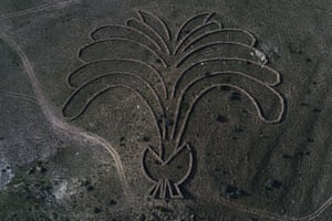 Kayseri, TurkeyAn aerial photograph showing the land art of Andrew Rogers. The land art project which is called 'Rhythms of Life' is the largest contemporary land art undertaking in the world with 48 massive stone sculptures created in 13 countries and seven continents around the world.