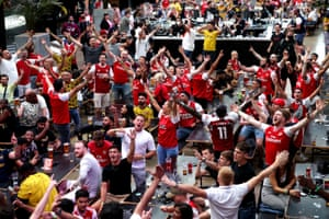 The Gooners at Box Park Wembley celebrate after Pierre-Emerick Aubameyang scores his side's equaliser.
