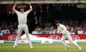 Ireland's Andy Balbirnie catches out England's Chris Woakes.