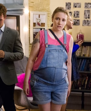 Lena Dunham as a pregnant Hannah Horvath in the final season of Girls.