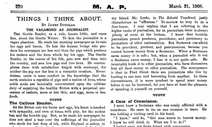 A reference to 'affluenza' in a 1908 MAP article by James Douglas.