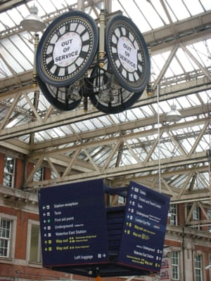 """<strong>Time's run out</strong><br>Commuters at Waterloo Station were surprised to see time had run out for the famous clock<br>Photograph: <a href=""""https://witness.theguardian.com/assignment/55b0f634e4b02ab2dca28ece/1640960"""">VernaEvans/GuardianWitness</a>"""