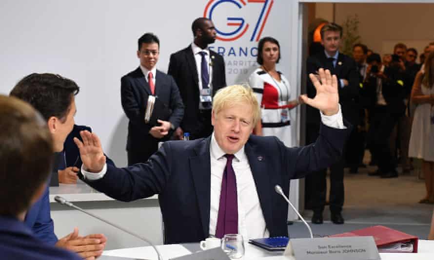 Boris Johnson at the G7 summit in Biarritz