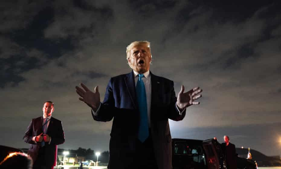 Donald Trump arrives back at Andrews air force base in Maryland after a campaign rally in Latrobe, Pennsylvania.