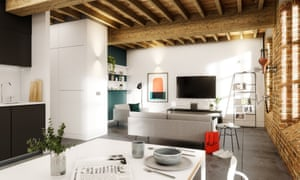 Artist's impression of loft apartment living space in the Crusader Mill development in Manchester