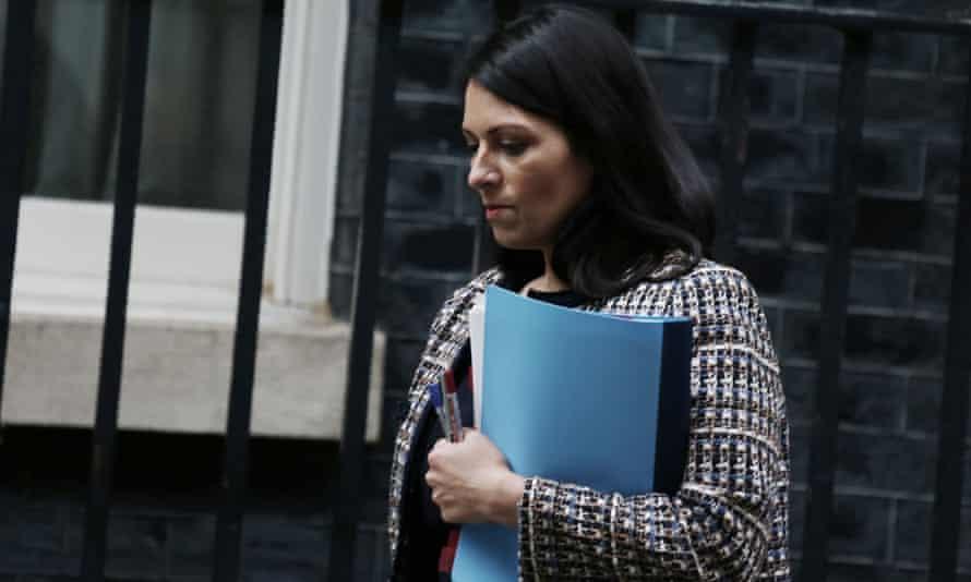 Priti Patel outside Downing Street.