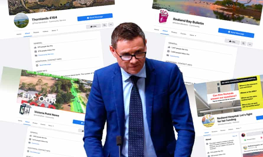 Liberal MP Andrew Laming, who is on leave from parliament to undertake empathy counselling, operates dozens of Facebook community pages (including those pictured here) which promote political material and attack his Labor opponents.