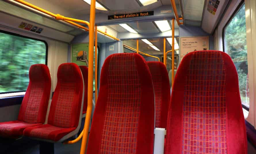 An empty train carriage on a South Western Railway train from London Waterloo to Ascot
