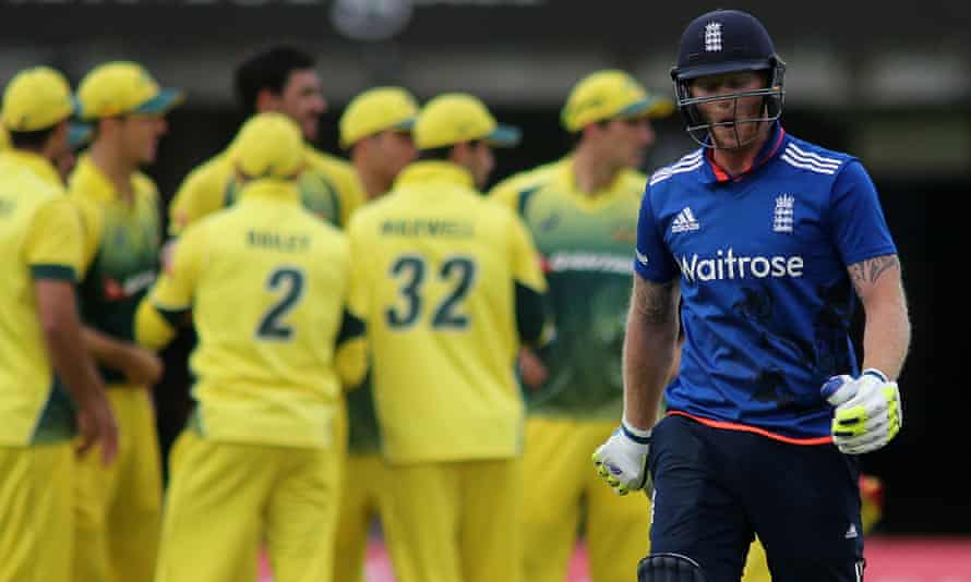 Ben Stokes leaves the field after being controversially dismissed during England's second ODI against Australia at Lord's.