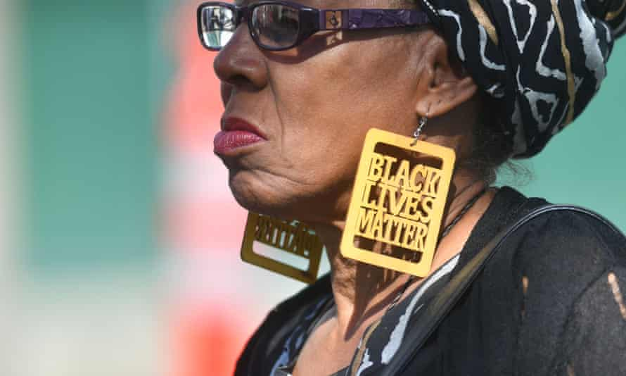 A woman attends the funeral of Stephon Clark in Sacramento, California.