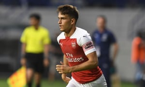 Denis Suárez in action for Arsenal against Al-Nasr Dubai SC on 26 March 2019 in Dubai.