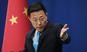 Chinese foreign ministry spokesman Zhao Lijian during a briefing following the decision to expel three Wall Street journalists in February.