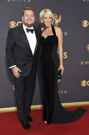 Host of The Late Late Show James Corden and his wife, Julia Carey.