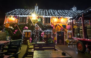 Twinkle, twinkle … a festive display on the Queen Victoria Inn in the village of Priddy, near Wells in Somerset