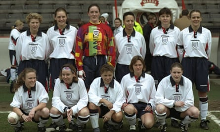 Mo Marley with her England teammates before an international against Scotland in 1997