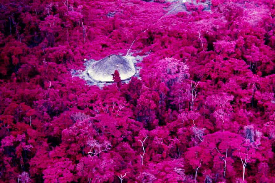 Claudia Andujar uses infrared film to capture a shot of the Catrimani river, part of the Yanomami territory.