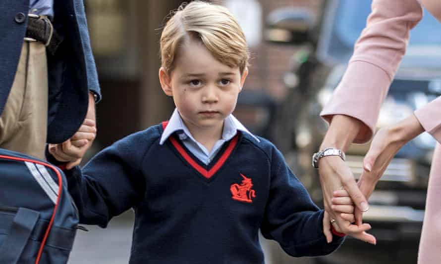 Prince George on the way to school