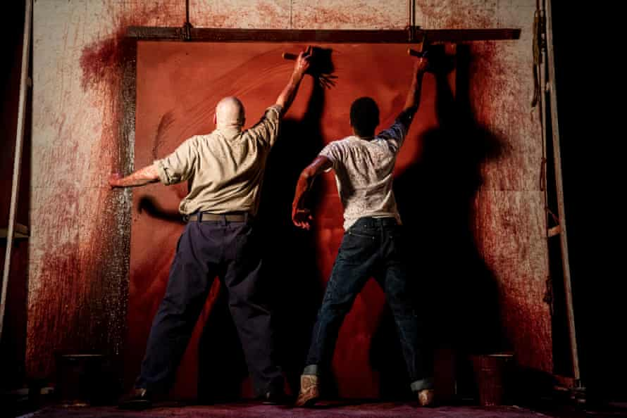 Highlight of the production … the pair cover a canvas in an undercoat.