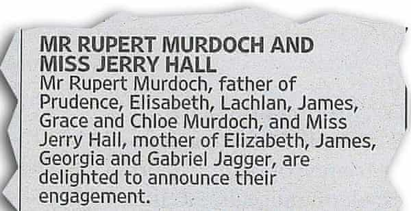 An announcement in the Times newspaper on 12 January.