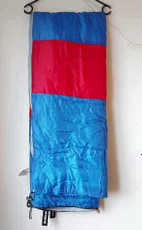 Allie Luecke's blue and red sleeping bag from Savers
