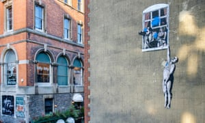 The Well Hung Lover, by Banksy, in Bristol.
